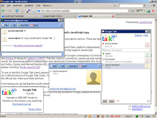 Click for Large Screenshot: Google Talk Client's JavaScript Copy